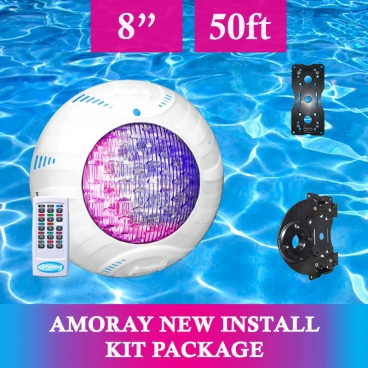 Amoray 8in New Install Light Kit (13 Color Show ) 50ft