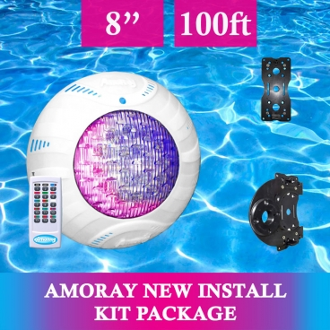 Amoray 8in New Install Light Kit (13 Color Show ) 100ft